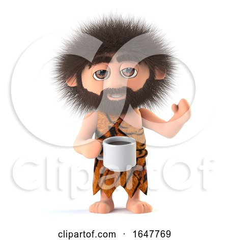 3d Funny Cartoon Caveman Drinks a Cup of Coffee Posters, Art Prints