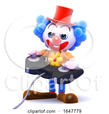 3d Clown Plays a Videogame by Steve Young