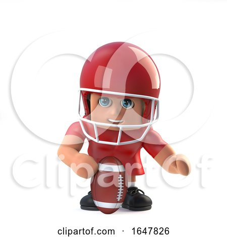 3d American Footballer Prepares the Ball by Steve Young