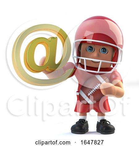 3d American Footballer Has Internet Address Symbol by Steve Young
