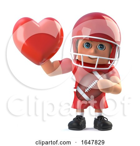 3d American Footballer Holds up a Red Heart by Steve Young