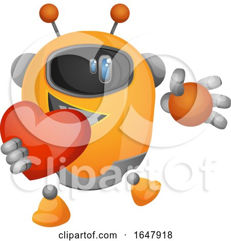 Orange Cyborg Robot Mascot Character Holding a Heart Posters, Art Prints