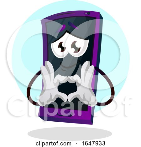Cell Phone Mascot Character Forming a Heart with His Hands Posters, Art Prints