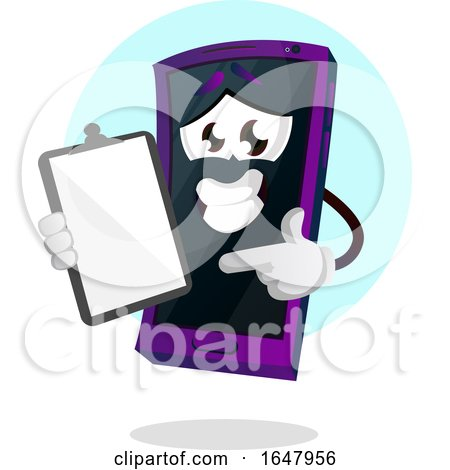 Cell Phone Mascot Character Pointing to a Clipboard by Morphart Creations