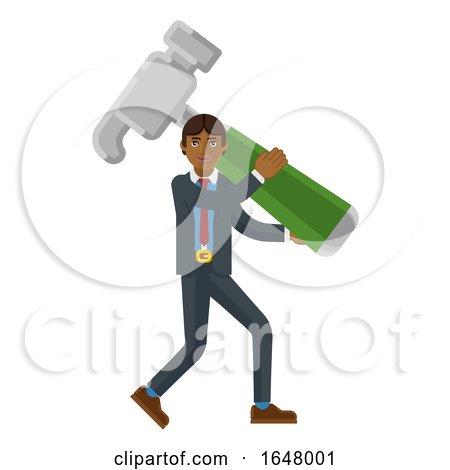 Asian Business Man Holding Hammer Mascot Concept by AtStockIllustration