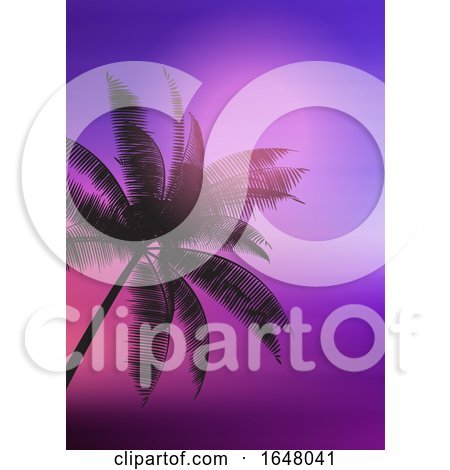Palm Tree Silhouette on Gradient Background by KJ Pargeter