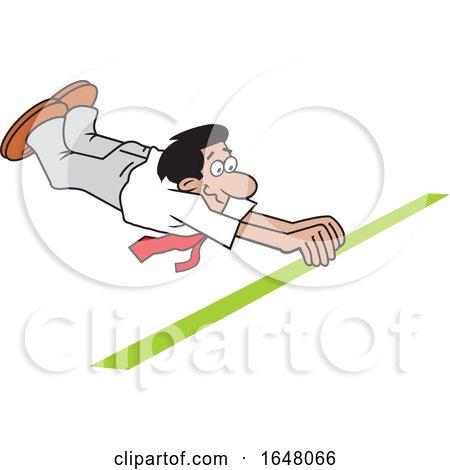 Cartoon Hispanic Business Man Crossing the Finish Line by Johnny Sajem