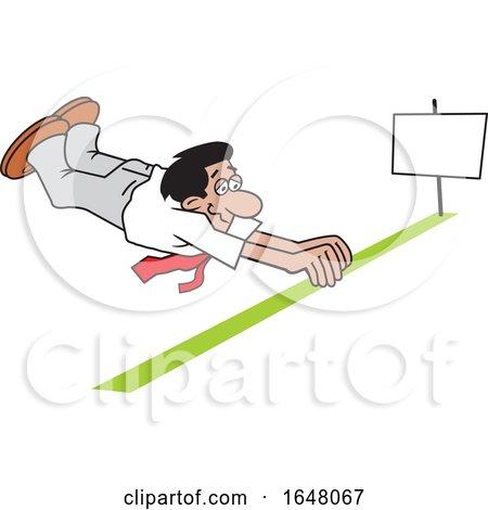 Cartoon Hispanic Business Man Barely Crossing the Finish Line by Johnny Sajem