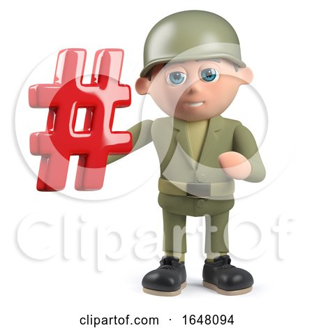 3d Army Soldier Character Holding a Hash Tag Symbol by Steve Young