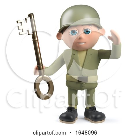 3d Army Soldier Character Holding a Gold Key by Steve Young
