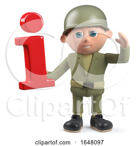 3d Army Soldier Character Holding an Information Symbol by Steve Young