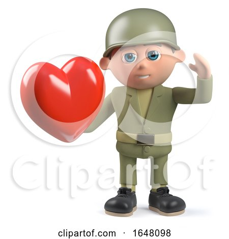 3d Army Soldier Character Holding a Romantic Red Heart by Steve Young