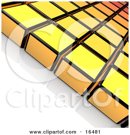 Rows Of Yellow And Black Cubes On A Reflective White Surface  Posters, Art Prints