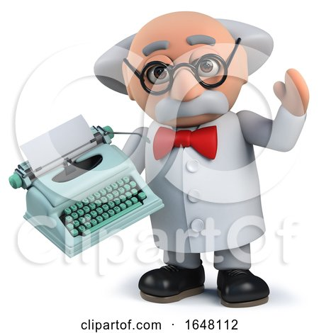 Crazy Mad Scientist Holding an Old Retro Typewriter Posters, Art Prints