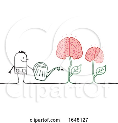 Stick Man Watering Brain Plants by NL shop