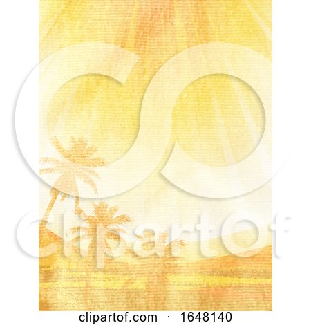 Tropical Scene Paint on Brown Crumpled Material by elaineitalia