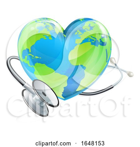 Health Concept Stethoscope Heart Earth World Globe by AtStockIllustration