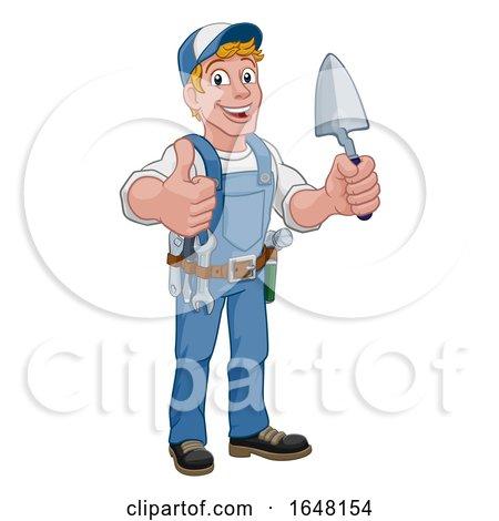 Trowel Construction Site Cartoon Builder Handyman by AtStockIllustration