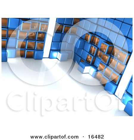 Bright Light Shining Through A Blue Wall Of Cubes Clipart Illustration Graphic by 3poD