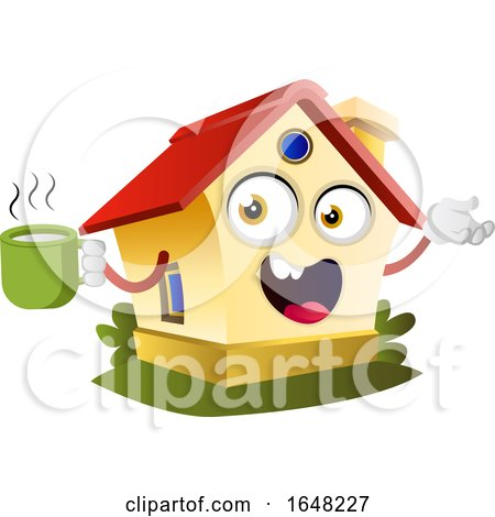 Home Mascot Character Holding a Coffee Cup Posters, Art Prints