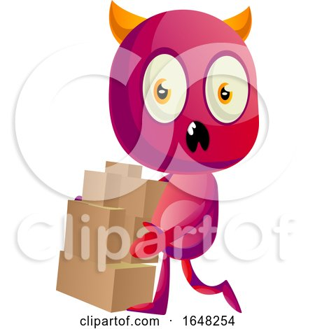 Devil Mascot Character with Boxes by Morphart Creations