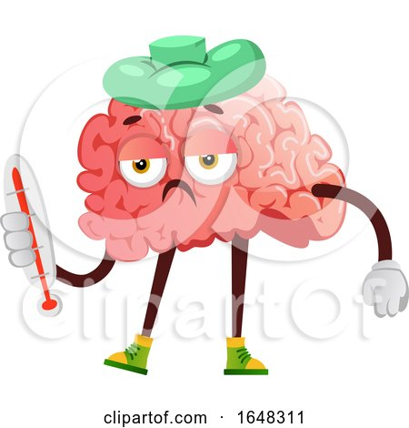 Sick Brain Character Mascot Holding a Thermometer by Morphart Creations