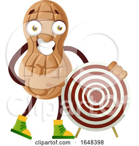 Cartoon Peanut Mascot Character Pointing to a Target by Morphart Creations