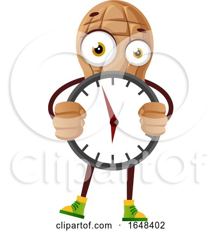 Cartoon Peanut Mascot Character Holding a Clock by Morphart Creations