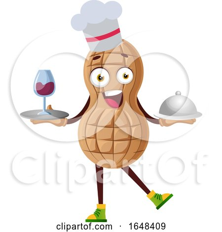 Cartoon Chef Peanut Mascot Character Holding a Wine Tray and Cloche by Morphart Creations