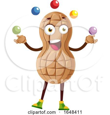 Cartoon Peanut Mascot Character Juggling by Morphart Creations