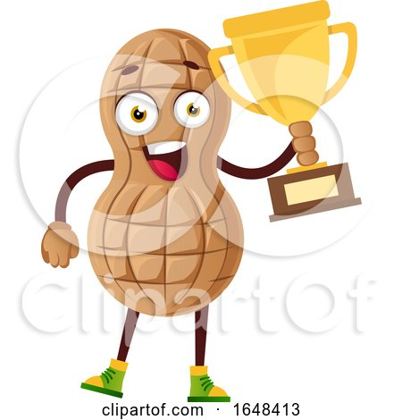 Cartoon Peanut Mascot Character Holding a Trophy by Morphart Creations
