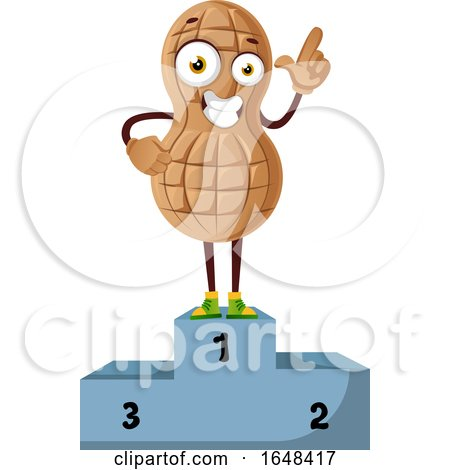 Cartoon Peanut Mascot Character on a First Place Podium by Morphart Creations