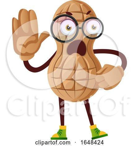 Cartoon Peanut Mascot Character Gesturing Stop by Morphart Creations