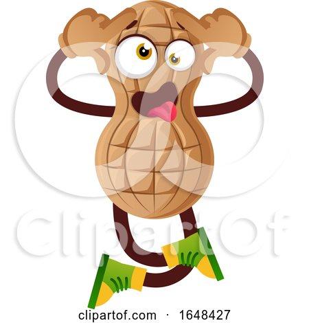 Cartoon Peanut Mascot Character Going Crazy by Morphart Creations