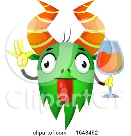 Cartoon Green Monster Mascot Character Holding a Glass of Wine by Morphart Creations