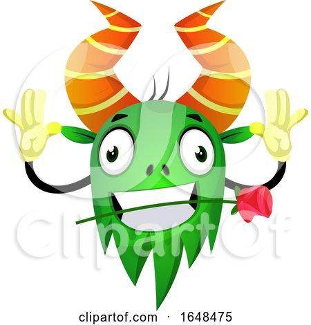 Cartoon Green Monster Mascot Character Biting a Rose by Morphart Creations