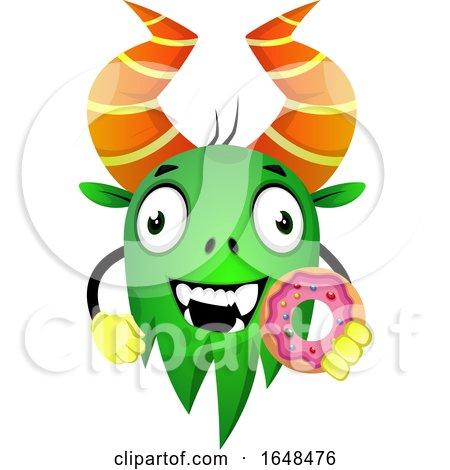 Cartoon Green Monster Mascot Character Holding a Donut by Morphart Creations