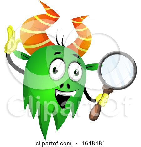 Cartoon Green Monster Mascot Character Holding a Magnifying Glass by Morphart Creations
