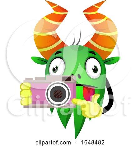 Cartoon Green Monster Mascot Character Holding a Camera by Morphart Creations