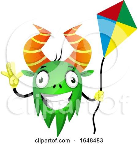 Cartoon Green Monster Mascot Character Holding a Kite by Morphart Creations