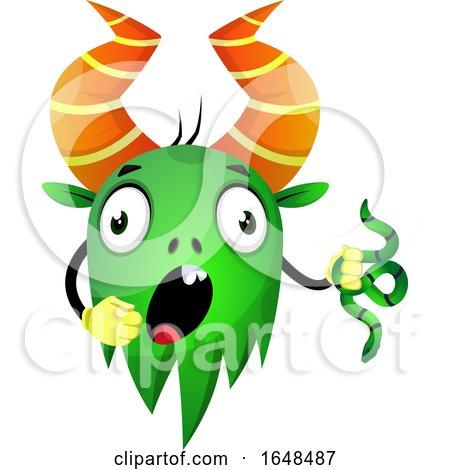 Cartoon Green Monster Mascot Character Holding a Snake by Morphart Creations
