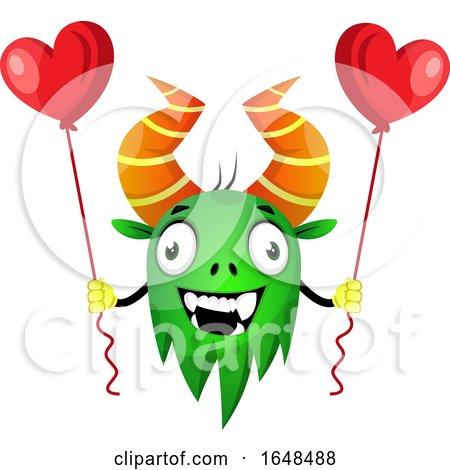 Cartoon Green Monster Mascot Character Holding Heart Balloons by Morphart Creations