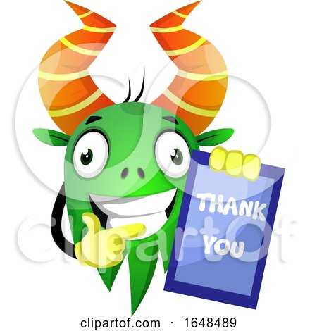 Cartoon Green Monster Mascot Character Holding a Thank You Card by Morphart Creations