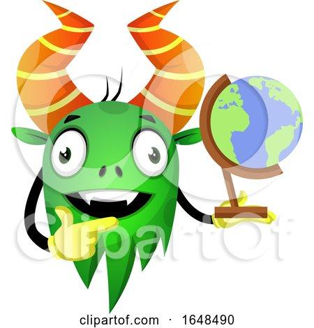Cartoon Green Monster Mascot Character Holding a Desk Globe by Morphart Creations