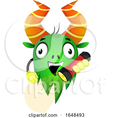 Cartoon Green Monster Mascot Character Holding a Flashlight by Morphart Creations
