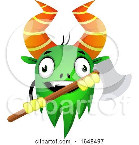 Cartoon Green Monster Mascot Character Holding an Axe by Morphart Creations