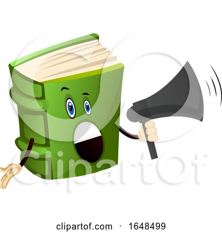 Green Book Mascot Character Using a Megaphone by Morphart Creations