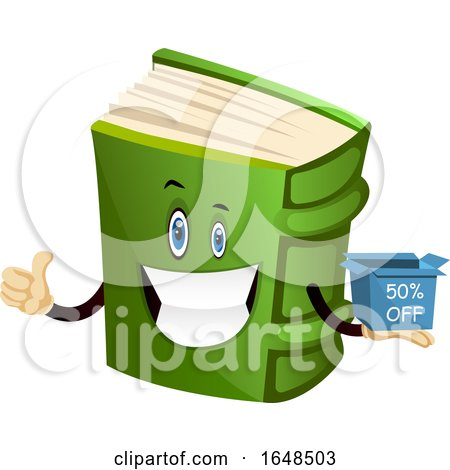 Green Book Mascot Character Holding a Sales Box by Morphart Creations