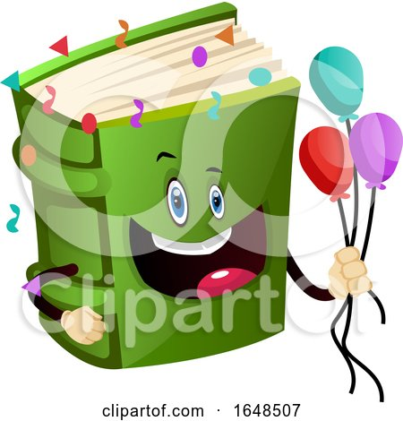 Green Book Mascot Character Holding Party Balloons by Morphart Creations