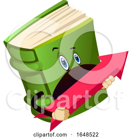 Green Book Mascot Character Holding an Arrow by Morphart Creations